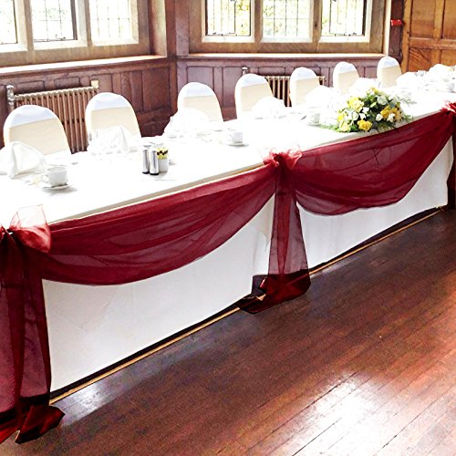 "Vlovelife Burgundy 197""x53"" Sheer Organza Top Table Swag Fabric Table Runner Chair Sash Wedding Car Party Stair Bow Valance Decorations"