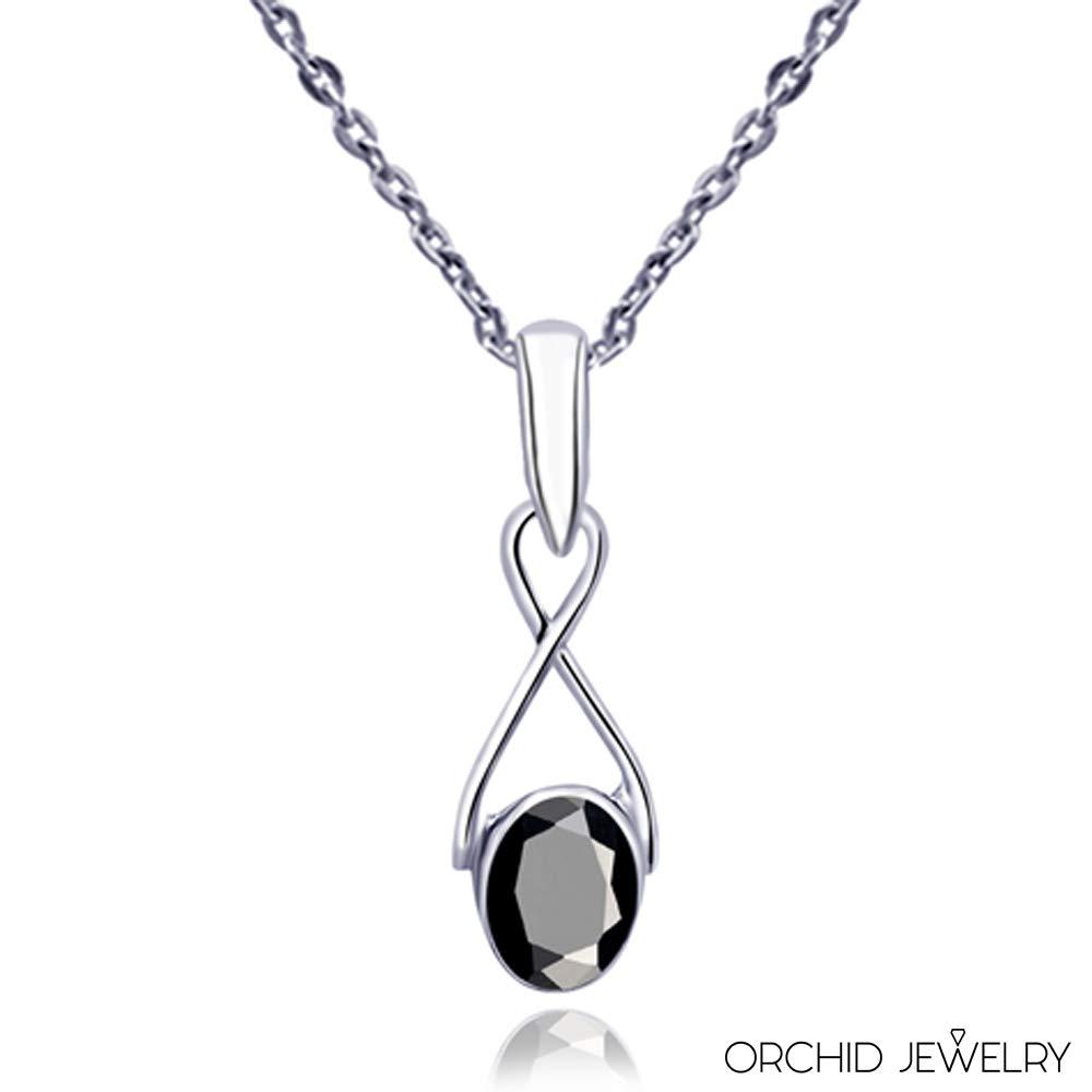 Beau Et Simple Cadeau De Fian/çailles Sans Nickel Pour Les Femmes Orchid Jewelry 0.91 Ctw Noir Spinelle Noire Ovale Pendentif En Argent Sterling 925