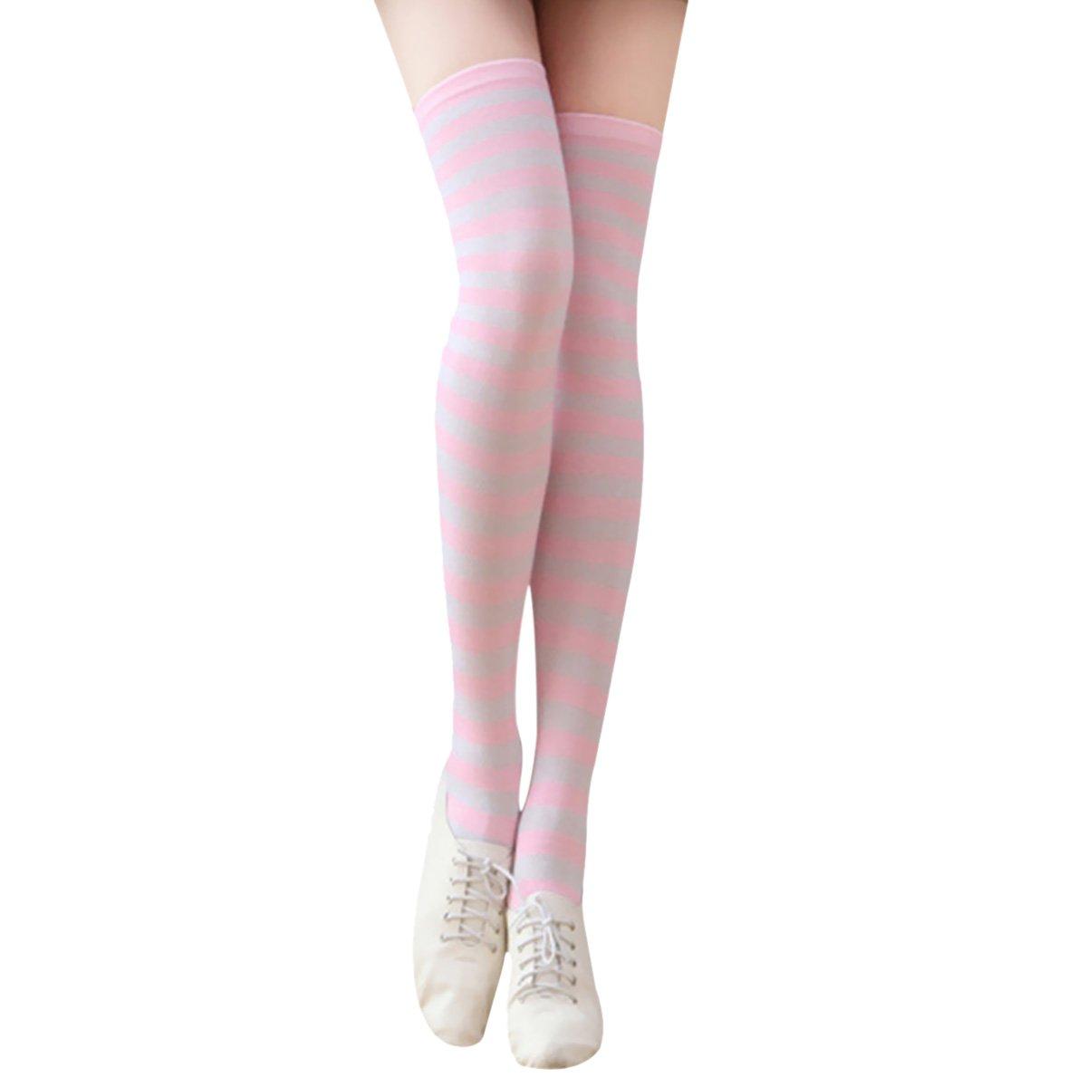 Sasairy Mädchen Herbst Winter Wärmer Streifen Overknee Strümpfe Klassik Strumpfhose Socken Lang für Halloween Party/Karneval