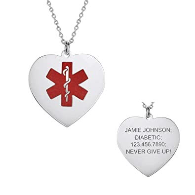 Missnity Custom Engraved Medical Alert Tag Heart Pendant Necklace White Gold 925 Sterling Silver Free Personalization