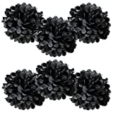 WYZworks Set of 6 - BLACK 10' - (6 Pack) Tissue Pom Poms Flower Party Decorations for Weddings, Birthday, Bridal, Baby Showers, Nursery, Décor