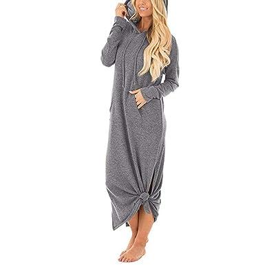 f606268d6c28b1 Longra Damen Beiläufig Lose Maxi Kleid Lange Pullover Kapuzenpullover Hoodie  Kleid Sweatkleid Damen Sportlich Lange Sweatshirt