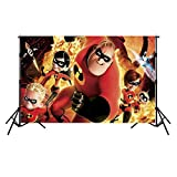 The Incredibles Movie Birthday Backdrop 7x5ft Photography Backdrop Newborn Vinyl Photo Background Kids Seamless Happy Birthday Bbackdrop for Party