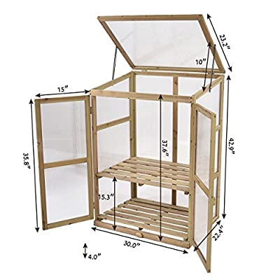 Greenhouse Portable Wooden Garden Cold Frame Raised Plants Shelve Protection