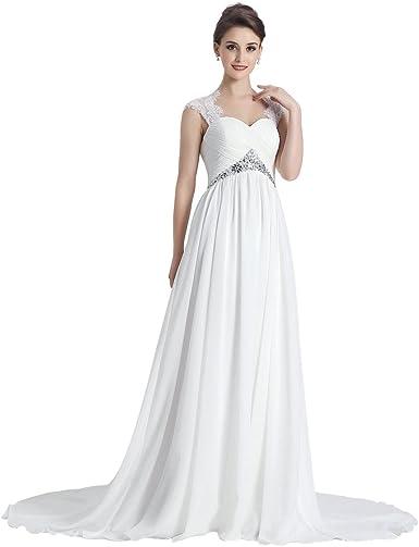 Larovias Women S A Line Beaded Chiffon Wedding Dresses Lace Up