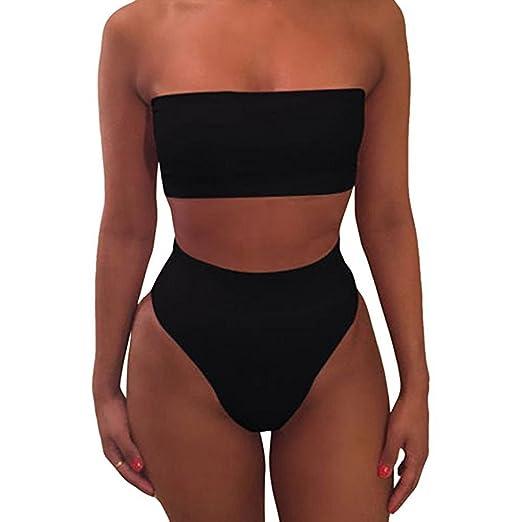 Harmily Cultivos de Color Sólido Sujetador del Bikini Traje de Baño ropa de Playa Conjunto de