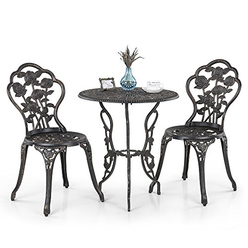 iKayaa 3PCS Patio Bistro Set Rose Design Iron Aluminum Porch Balcony Garden Table & Chairs Set Furniture Antique Copper (Used Garden Table And Chairs)