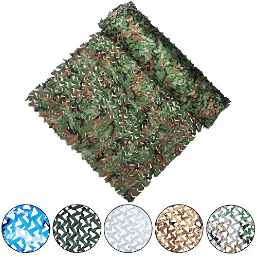 Yeacool Camouflage Netting Military Camo Nets for Party Decoration Hunting Sunshade Camping Shooting (Woodland Camo 32.8ftx5ft)