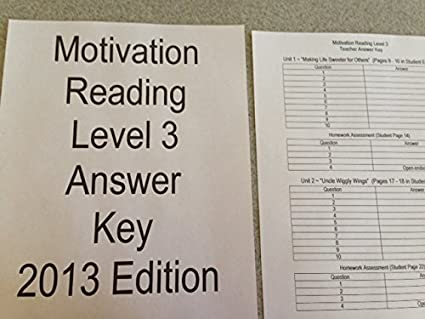 Mentoring Minds Motivation READING Level 3 (2013 Edition) ANSWER KEY ONLY ~  NO BOOK