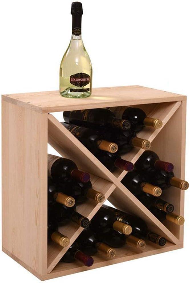 MFLASMF Wood Wine Racks Holder, Wine Bottle Display Shelf, Compact for Cellar Cube Bar Storage Kitchen Decor Display Home, Natural Natural