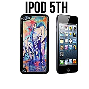Elephant Design Watercolor Custom made Case/Cover/skin FOR Apple iPod 5/5th Generation - Black - Plastic Snap On Case (Ship From CA)