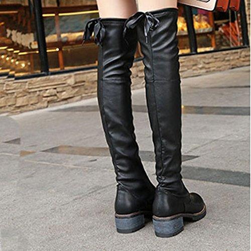 Btrada Donna Trendy Sopra Il Ginocchio Stivali Alti Alla Coscia Block Heel Black Lace Up Elastici Stivali Da Equitazione Neri