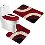 Red Bathroom Mat Set Amagical Microfiber Rug 3 Piece Bath Mat Set Pedestal Lid Toilet Cover Rug Bath Mat (Red)