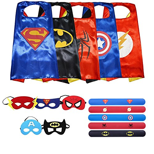 Ecparty Superheros Cape and Mask Costumes Set Matching Wristbands For Kids (5 (Easy Superhero Costumes)