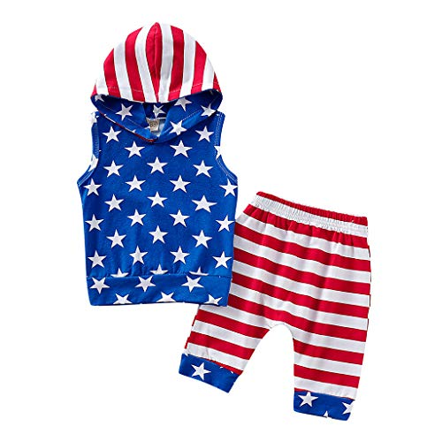 4th of July Toddler Baby Girl Infant Boy Independence Day Clothes Set Tops Vest +Shorts Outfit Set 2PCS 6M-3Y Blue