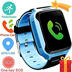 Kids Smartwatch with GPS Tracker Phone Remote Monitor Camera Touch Screen One Game Anti Lost Alarm Clock App Control by Parents for Children Boys Girls Compatible with Android iPhone (03 A16E Blue)