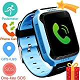 Kids Smartwatch with GPS Tracker,Game Smart Watch Phone for Boys Girls Camera SOS Activity Tracker Anti Lost Alarm Clock App Parents Control with iOS Android Summer Birthday Prime Deals Gift (Blue)