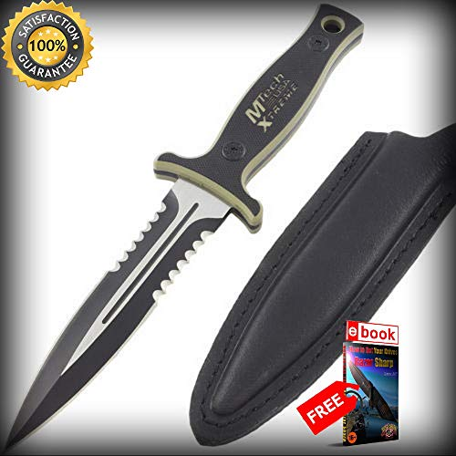 9'' MTECH USA XTREME BLADE MILITARY TACTICAL BOOT SHARP KNIFE Fixed Surival Neck G10 Combat Tactical Knife + eBOOK by Moon Knives