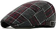 Anshili Men's Plaid Hat Wool Blend Ivy Cap Warm Beret