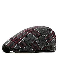 Anshili Men's Plaid Hat Wool Blend Ivy Cap Warm Beret (G)