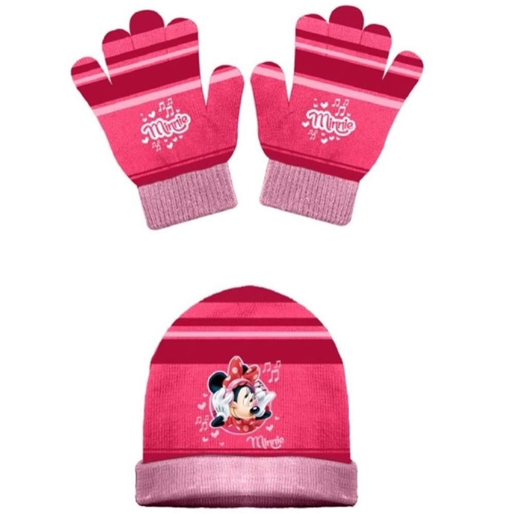 42238//2 CAPPELLO E Guanti Invernali Minnie Mouse Bambina Disney Taglia Unica 3//10 Anni