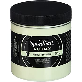 Speedball Art Products Night Glow Fabric Screen Printing Ink, 8 oz, White