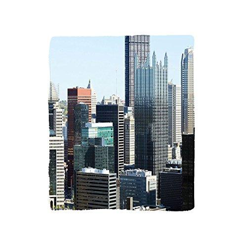 VROSELV Custom Blanket USA American Architecture Pittsburgh PA Skyline Pennsylvania Modern Cityscape Soft Fleece Throw Blanket Grey Silver Light Blue