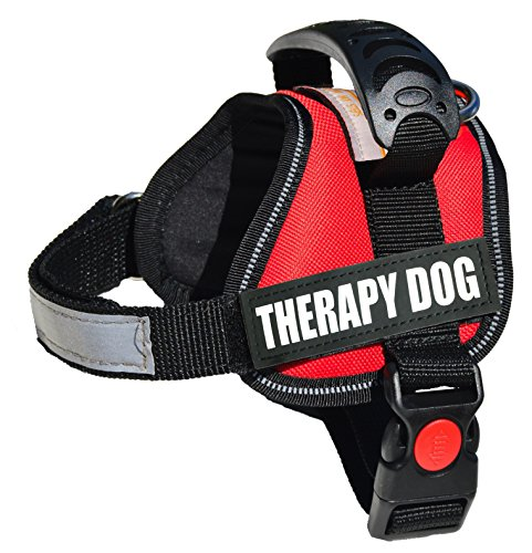 ALBCORP Reflective Therapy Dog Vest Harness, Woven Polyester & Nylon, Adjustable Service Animal Jacket, with 2 Hook and Loop Therapy Dog Removable Patches, Extra Small, - Support Vest Dog