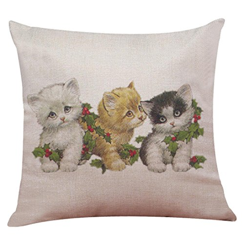 Challyhope Christmas Friendly Cute Dogs and Cats Cotton Linen Pillow Case Sofa Cushion Cover Home Decor New 2017 (45 X 45cm, Multicolor D) ()