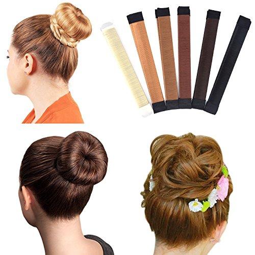 AccMart Hair Bun Maker 3PCS/SET Women Hair Bun Maker French Twist Hair Fold Wrap Snap Bun Shapers Hair Styling Maker DIY Beauty Crown Coffee