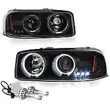 [Built-In COB Cree LED Low Beam] - VIPMotoZ 1999-2006 GMC Sierra 1500 2500 3500 Yukon XL Halo Headlights Headlamps, Driver and Passenger Side