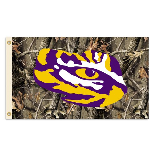 NCAA LSU Tigers 3 x 5-Feet Realtree Camo Background Flag with Grommets (Realtree Flag)