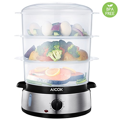 Aicok Food Steamer BPA FREE Healthy Steamer 9.5 Quart 3-Tier Electric Steamer 800W Fast Heat-up for Meat, Vegetable, Egg and Rice, with Stackable Baskets, Stainless Steel
