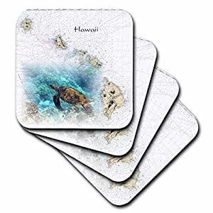 3dRose Print of Hawaiian Islands Chart With Sea Turtle - Ceramic Tile Coasters, set of 4 (cst_204889_3)