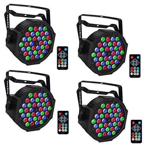 LED Par Lights, YeeSite 36LEDs RGB LED Par Can Lighting Sound Activated with Remote Control DMX Lights Up Lights for Church Wedding Stage Lighting DJ Party - 4 Pack