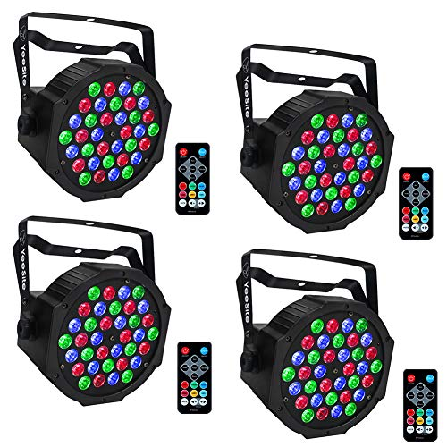 LED Par Lights, YeeSite 36LEDs RGB Stage Lights with Remote Control DMX Lights for Church Wedding Stage Lighting - 4 Pack ()