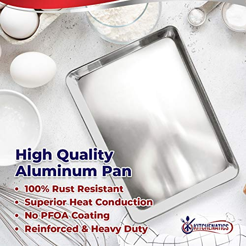 "KITCHENATICS Baking Pan and Cooling Rack, Half Sheet Aluminum Baking Pan and Stainless Steel Rack Set, Roasting Rack Set and Cookie Tray for Oven and Grill, Non-Toxic, 13.1"" x 17.9"" x 1"""