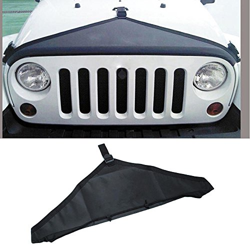 MCARCAR KIT PVC Oxford Front Hood Protective Bra Cover Black for 2007-2017 Jeep Wrangler