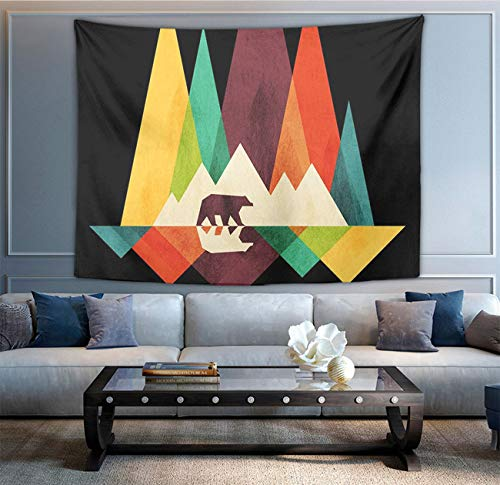 NiYoung Hippie Hippy Tapestries Colorful Mountain Bear Black Wall Hanging Tapestries Bedding Tapestries, Tablecloth Multi-Purpose Tapestry, Psychedelic Home Art Picnic Mat Beach Throw