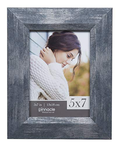 Pinnacle Frames and Accents 5x7 Navy Blue Distressed Wide Slant Tabletop Picture Frame,