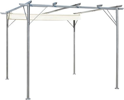 vidaXL Cenador de Acero con Toldo Retráctil Blanco Crema 3x3x2,25 m Pérgola: Amazon.es: Hogar
