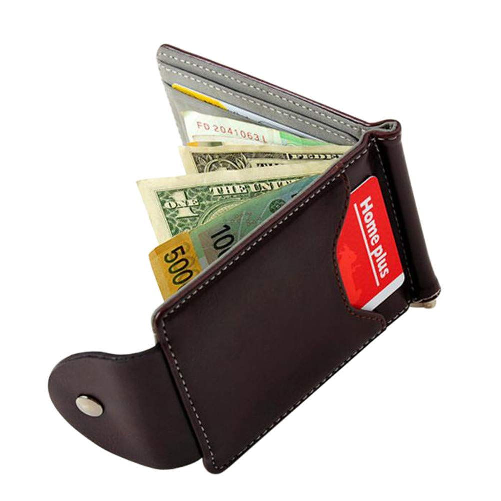 GzxtLTX Wallet PU Leather Credit Card Holder Minimalist Purse Money Clip with ID Window