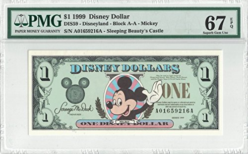 Disney Dollar 1999 $1 Mickey Mouse A01659216A PMG 67 EPQ Superb Gem Unc