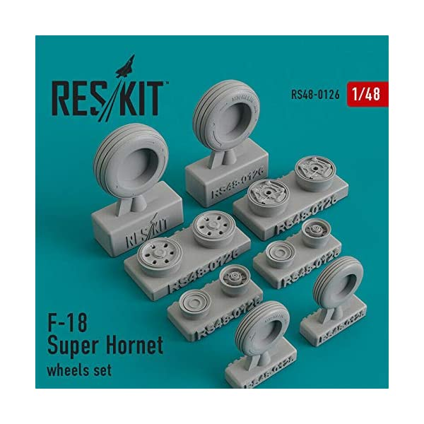 Reskit RS48-0126 - 1/48 – Wheels Set for F-18 Super Hornet Resin Detail 1