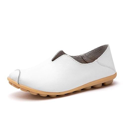 Mocasines de Cuero Mujer Casual Zapatos de Conducción Moda Loafers Verano Planos Zapatillas del Barco Zapatos: Amazon.es: Zapatos y complementos