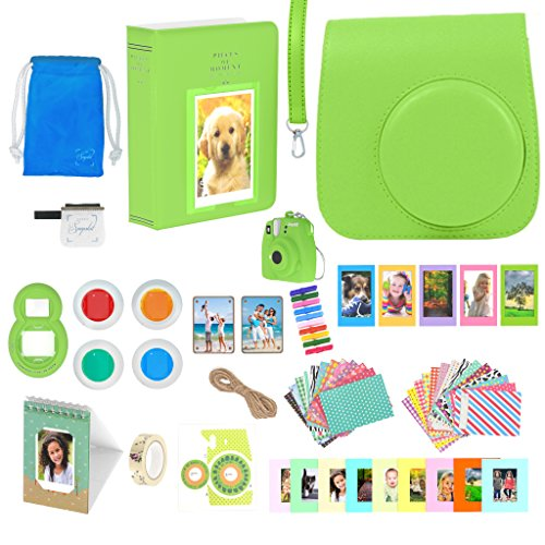 Fuji Instax Mini 9 Camera Accessories – 16 Piece Kit Includes: Lime Protective Case + Strap, 2 Photo Albums, Keychain, Emoji Stickers, Hanging Frames, Selfie Lens, Gift Box (Camera not Included