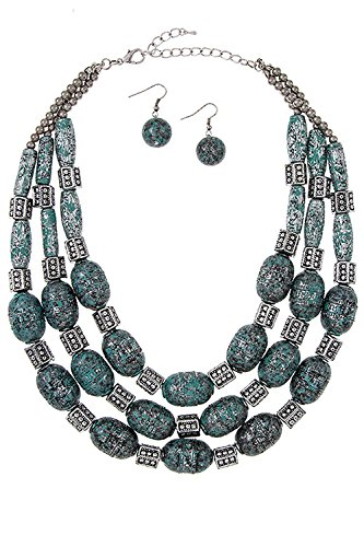 Trendy Fashion Jewelry Multi Row Tribal Etched Beaded Necklace Set By Fashion Destination   (Custom Costume Hip Hop Jewelry)