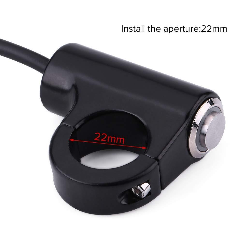 locking-LED Interruttore manubrio Qiilu 22mm Interruttore montaggio manubrio moto Pulsante Faro fari antinebbia ON//OFF