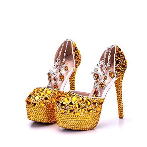 Correa Mujer Vestir Nupcial Eur Sandalias Zapatillas Noche Cordón Zapatos 5 Tacón Señoras Oro uk Tamaño Tobillo Corte Nvxie Boda Gold 5 38 35 Alto Primavera Rhinestones eur39uk665 Puntiagudo 41 vBXxA5wAIq