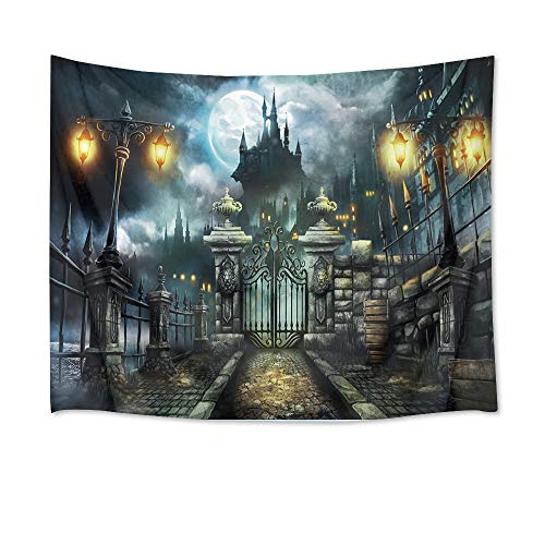 HVEST Castle Tapestry Haunted Building with Retro Gate Wall Hanging Full Moon in Night Tapestries for Bedroom Living Room Dorm Wall Decor,60Wx40H inches ()
